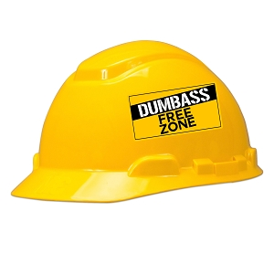 Dumbass Free Zone Hard Hat Helmet Sticker